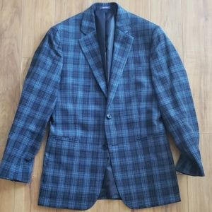 Stafford Crosshatch Plaid Navy Blue Blazer